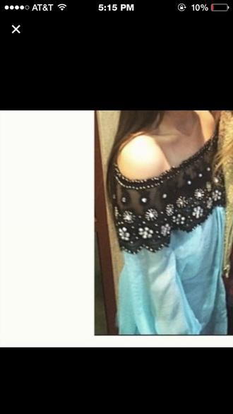 blouse light blue black mesh top strapless long sleeve shirt