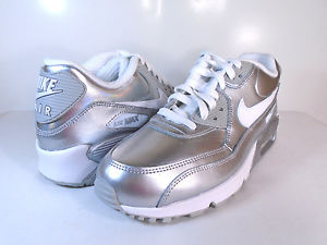 1760cf4be70f NIKE AIR MAX 90 PREMIUM LEATHER (GS) White Metallic Silver ...