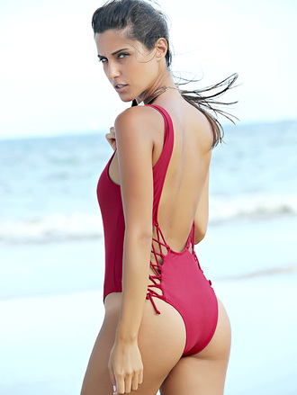 swimwear dressfo red dope sexy backless style summer girly beach hot open back one piece swimsuit