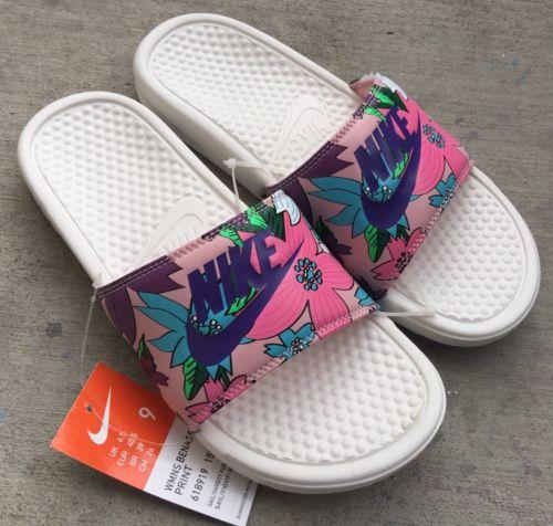 a19eeb17641c Nike Womens Benassi JDI Print Sz 9 Sail Varsity Purple Pink Floral ...