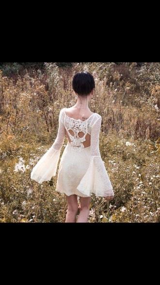 dress white skull bell sleeves white lace dress white dress romantic summer dress