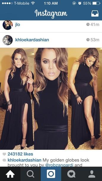 dress black dress mock neck floor length dress gold belt