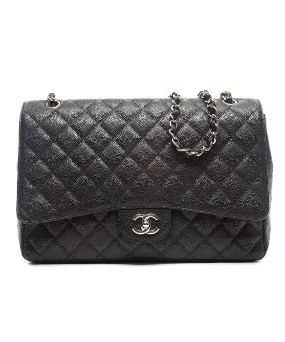 Chanel Pre-Owned Chanel Black Caviar Maxi Flap Bag | BLUEFLY up to 70% off designer brands