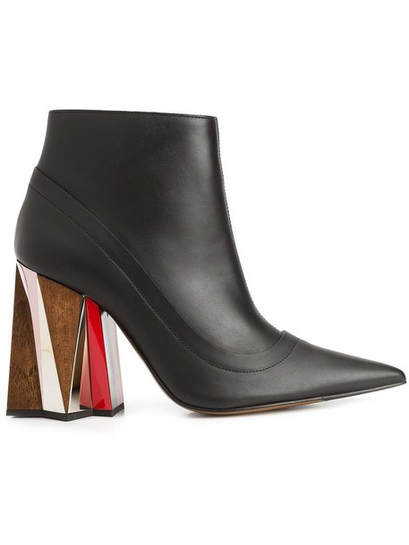MARNI heel women boots ankle boots leather black shoes