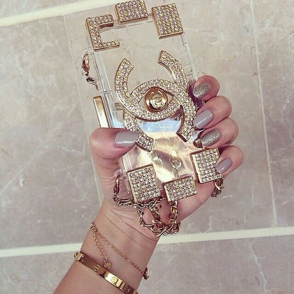 gold sequins gold jewels chanel chain phone case Belt
