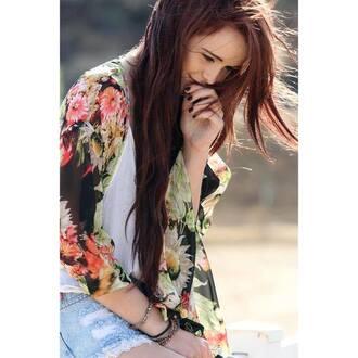 blouse acacia brinley cardigan silk modeling