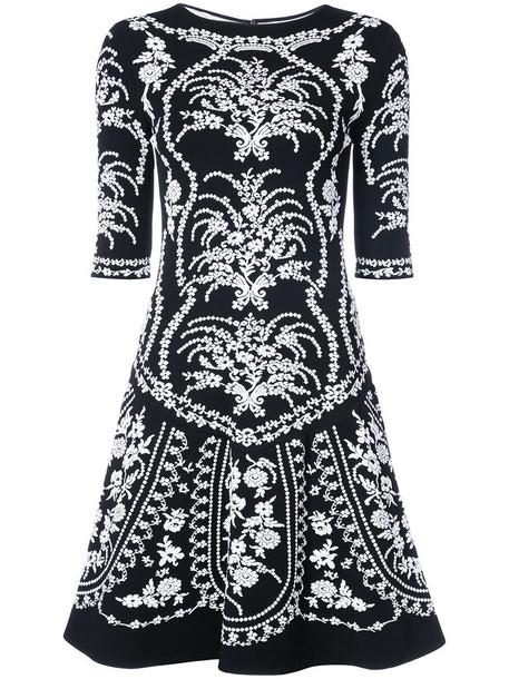 oscar de la renta dress mini dress mini embroidered women floral black