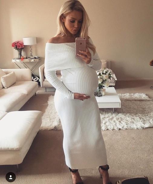 6d331922e6d dress white dress maternity white knitted dress tammy hembrow maternity  dress