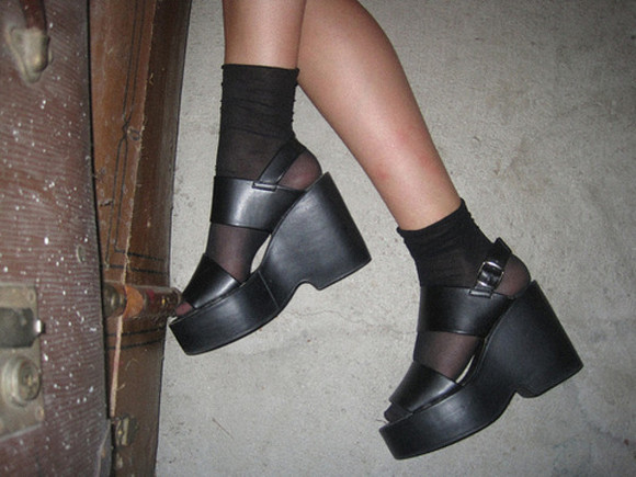 shoes wedges black platform shoes platform leather