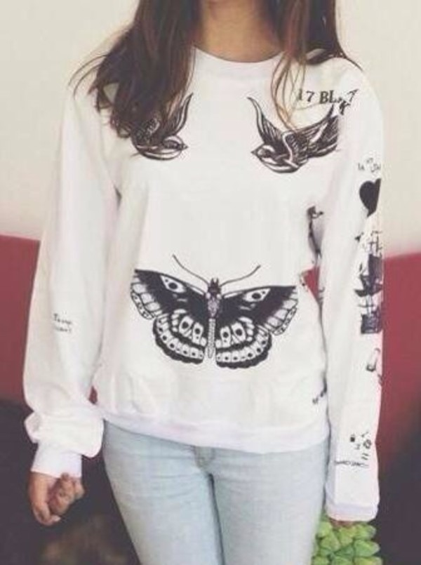 sweater jumper clothes tattoo white jumper she's my harry harry styles tattoo shirt harry styles one direction harry styles tattoo white sweater harry styles sweater black and white sweatshirt white sweater one direction crewneck large white