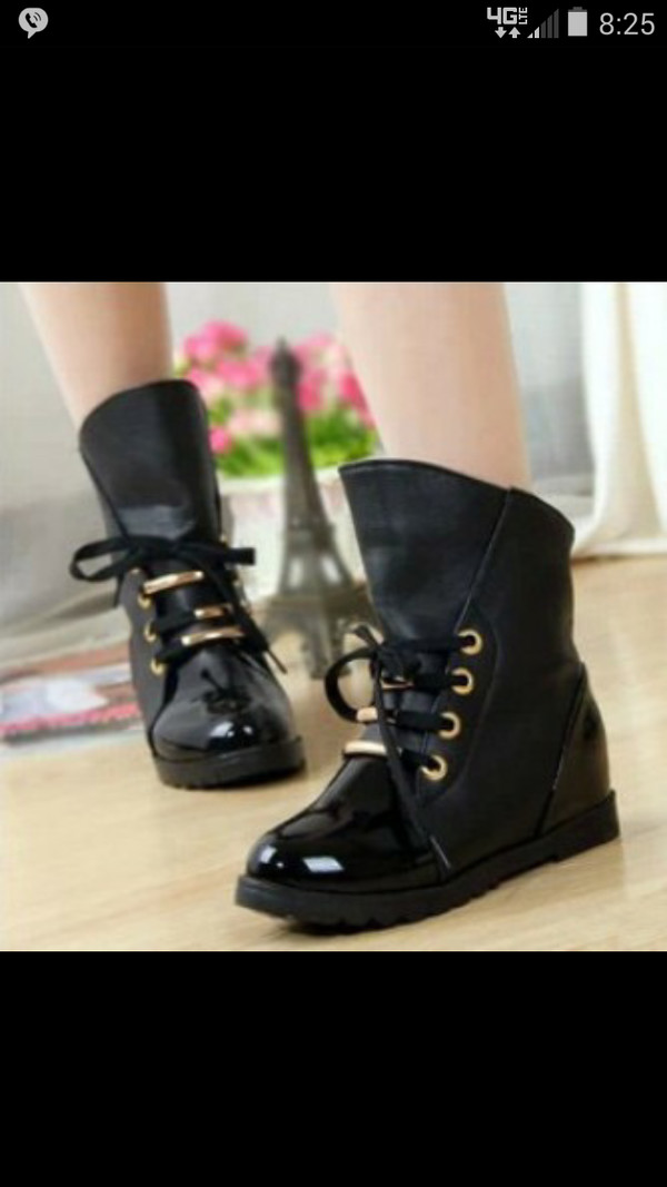 shoes black boots gold cute shoes rubber boots leather shoes booties