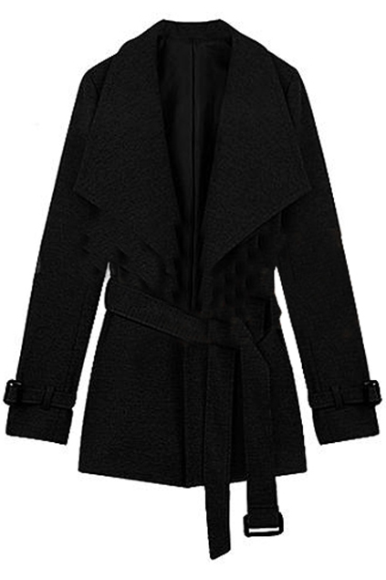 Big Lapel Fitted Belt Black Coat, The Latest Street Fashion