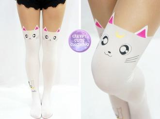 leggings sailor moon kitty stockings kawaii luna artemis