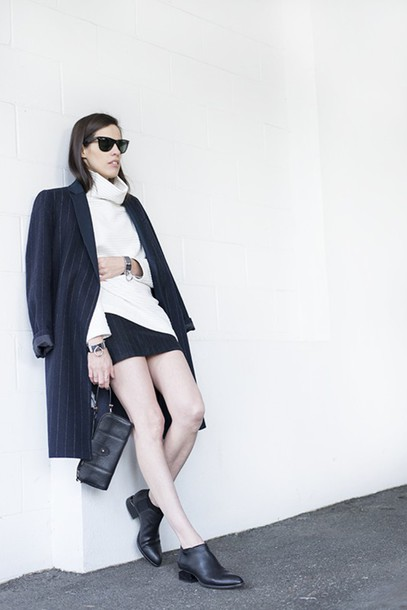 melissa araujo blogger coat stripes turtleneck ankle boots mini skirt skirt bag shoes sunglasses jewels