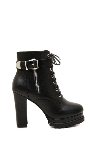 shoes heels boots lace up fashion style black zip faux leather buckles fall shoes grunge winter outfits fall outfits gold platform shoes