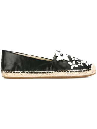 women espadrilles floral leather black shoes