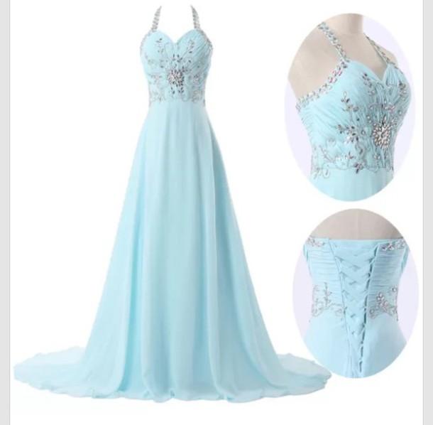 Dress Pastel Blue Beautiful Prom Dress Long Prom Dress Blue