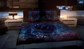 galaxy print,bedding,home accessory,glow in the dark,stars,bedroom,pillow,bright,universe,night sky inspired