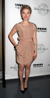scarlett johansson,brown dress,dress