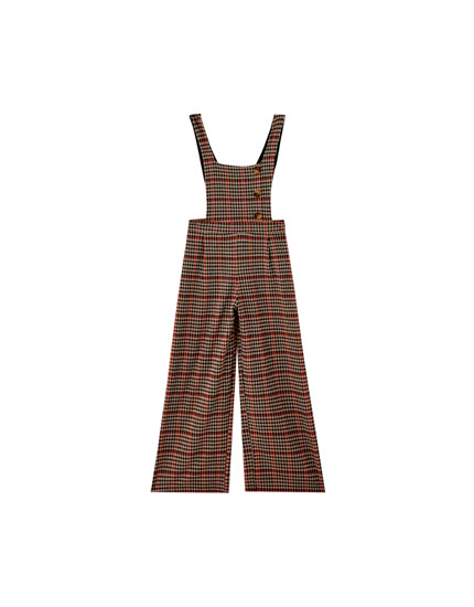 Checked jumpsuit with buttons - pull&bear