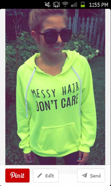 sweater neon green messy hair