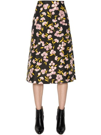 skirt floral cotton silk black