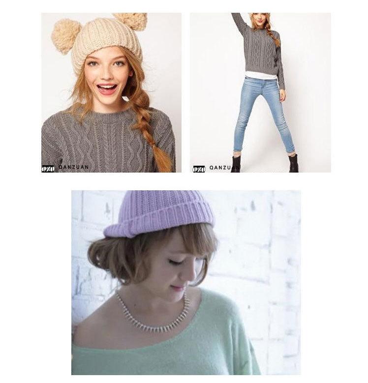 2013 new brand warm&beautiful winter knitted wool hat women's mickey ear black  lady pompon beanie hats wholesale