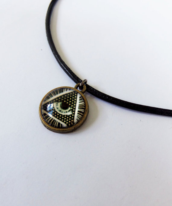 All seeing eye pyramid eye of providence freemason eye of the illuminati all seeing eye pyramid eye of providence freemason eye of the phoenix eye on the dollar bill glass bubble charm choker necklace mozeypictures Gallery