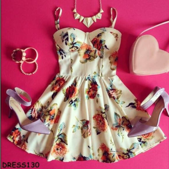colorful color floral bustier dress floral dress