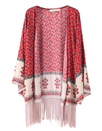 cardigan kimono red open front brenda-shop floral fringes boho shirt summer beach
