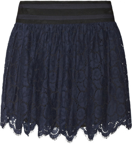 Milly margaret cottonblend lace skirt in blue (navy)