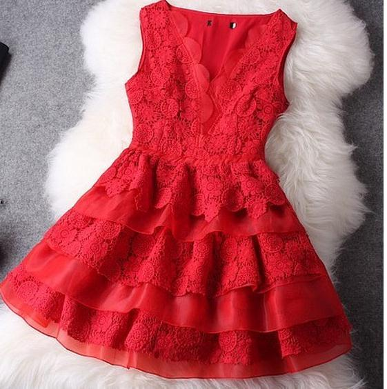 Sexy red lace so nice dress / fanewant