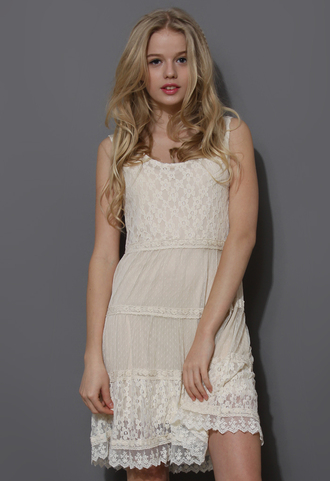 dress dreamy lace sleeveless ivory