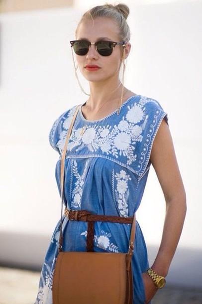 dress mexican dress mexican aztec mexican style flower embroidery sky blue dress navy dress