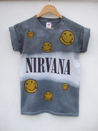 t-shirt nirvana nirvana t-shirt smiley dip dyed