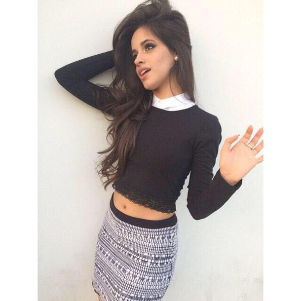 t-shirt dress camila cabello black top mini skirt patterned skirt skirt