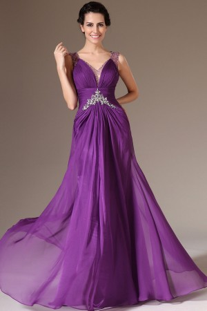 2014 Latest Purple Floor-Length V-Neck A-Line Chiffon Sleeveless Dress Cheap Sale - Fadhits - English - p-Dwomendress2191