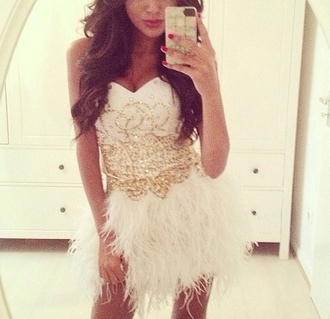 dress feather dress feathers gold