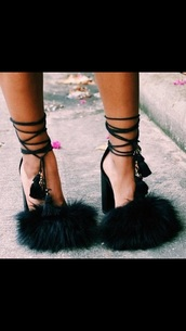 heels,fur,fluffy fur,designer,straps,style,lace up,lace up sandals,lace up heels,ootd,shoes,tie strap,fluffy,tassel,stapped heals,black furry heels,black heels,fashion,sandals,black dress,black,money,crop tops,red dress,white,summer dress,shorts,pumps,sandal heels