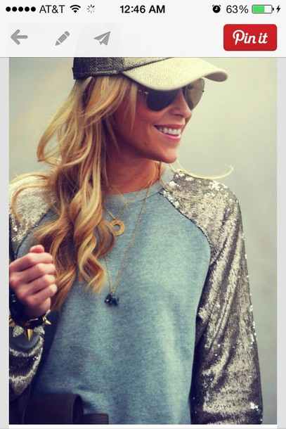 sweater blouse sparkle baseball sequin casual sweater shirt