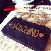 phone cover,moschino,chain,black,gold,black and gold,buttons,all black and gold wishlist