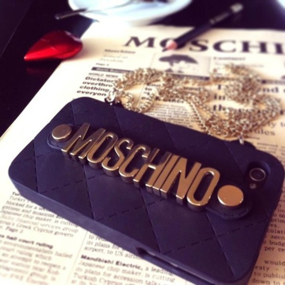 buttons moschino phone case chain black gold black and gold