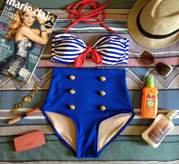 swimwear high waist swimsuit sailor style vintage swimwear