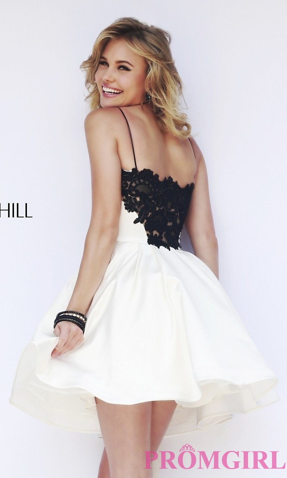 Short spaghetti strap a line dress with pockets by sherri hill for Spaghetti strap wedding dress with pockets