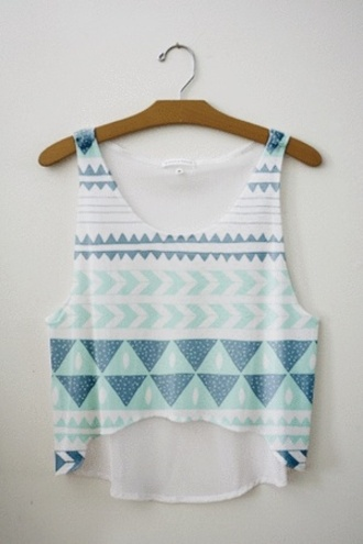 shirt tribal pattern crop tops crop tops love tribal crop top belly t-shirt belly top blouse blue white top