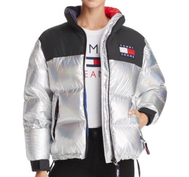 jacket metallic tommy hilfiger puffer jacket