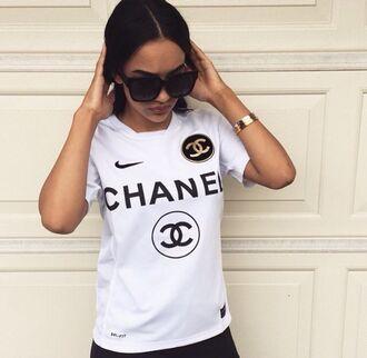 shirt chanel chanel t-shirt white nike