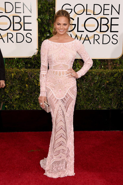 dress chrissy teigen embroidered red carpet dress Golden Globes 2015 zuhair murad