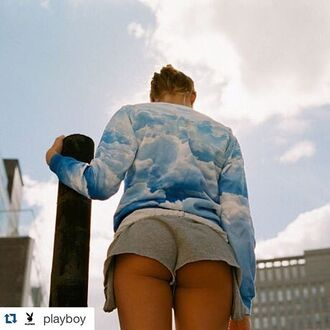 sweater printed sweater sweatshirt full print sweater clouds sweater clouds sweatshirt clouds clouds print cloud print shorts short shorts grey shorts mini shorts blue sweater jumper pullover fusion playboy
