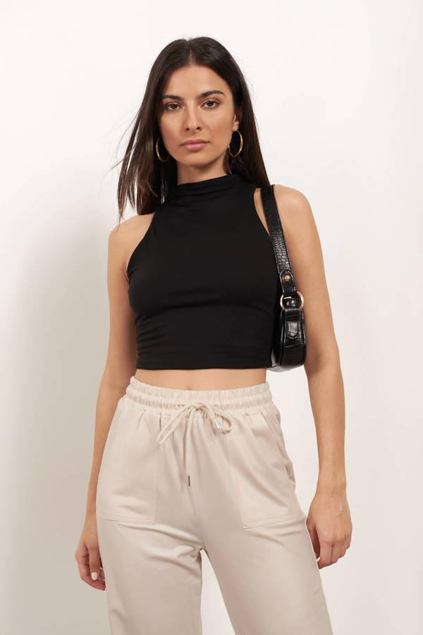 Count On Me Black Funnel Neck Crop Top